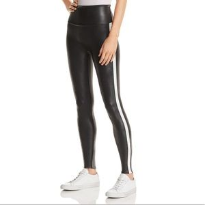 Spanx faux leather striped leggings